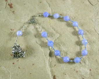 Athena Pocket Prayer Beads in Blue Lace Agate: Greek Goddess of Wisdom, Weaving, Strategy, War, Patron of Artisans, Protector of Cities