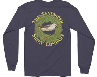 Christmas Wreath long sleeve shirt with Sandpiper bird • Holiday shirt by The Sandpiper Shirt Company • Made in the USA