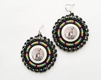 Chief Joseph Earrings Black & Neon