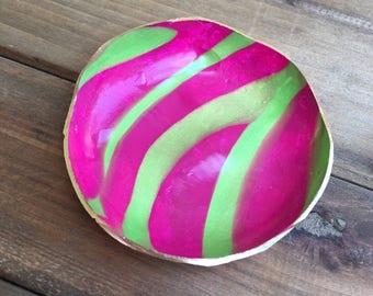 Pink and Green Clay Ring Bowl