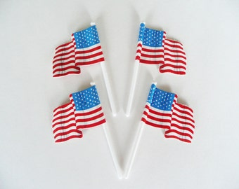24 American Flag Cupcake Picks Cake Toppers Party Supplies Fourth of July Patriotic USA Military