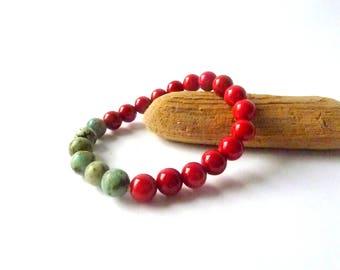 Gemstone Coral Bracelet Hot Summers  Bracelet Gift For Her Beaded Bracelets for Women