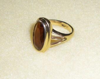 Amberglow Vintage Avon Faux Topaz Ring, signed gold tone Avon ring, size 6 statement ring 1981
