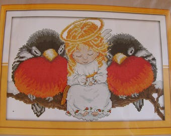 """Counted cross stitch Kit embroidery """"Ange nestled with birds"""""""