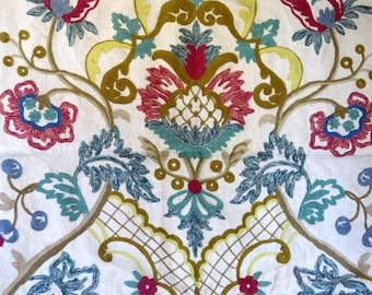 Vintage, Fabric art, Tapestry, Embroidered, Linen cloth, Flowers, wall art, Floral design, french design, wool embroidery, wool yarn