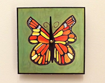 Butterfly Clock, 6 x 6 inches, Home Decor, Functional Art, Contemporary Clock, , Wall Clock, Nature Clock,