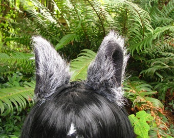 Animal Ear Clips - Black and White Cosplay Animal Ear Hair Clips by Ningen Headwear