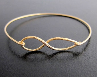 Infinity Bracelet Gold Plated Infinity Bangle Bracelet for Women for Bridesmaids, Eternity Bracelet Forever Bracelet, Frosted Willow