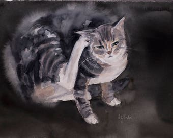 Tabby-Tabby Cat Painting, Watercolor Cat Painting, Original Art Cat, Original Watercolor Painting, Cat Lover Gift, Gift for Cat Lover