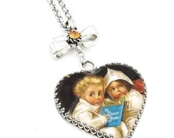 Halloween Heart Pendant - Halloween Necklace - Ghost Necklace - Ghost Stories - Halloween Jewelry