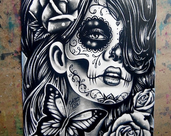 5x7, 8x10, or apprx. 11x14 in Signed Art Print - Epiphany - Day of the Dead Sugar Skull Girl Black and White Tattoo Art Portrait