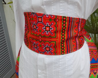 Belt style wide obi belt - fabric representing the Hmong - reversible patterns