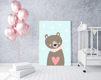 Nursery Wall Art Print, Digital Kids Art Print, Nursery Print, Instant Download Printable Kids, Nursery Art Printable, Modern Nursery Decor