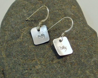 Stamped Silver Heart Earrings, Delicate Sterling Square Dangle, Stamped Jewelry, Simple Thin French Wire, Upcycled, Sweetheart