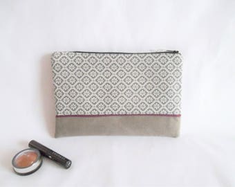 Pouch, makeup or other - flowers, edging Burgundy