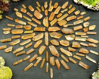 Wholesale Tangerine Quartz Crystals, Orange Hematite Inclusions (200 grams, Brazil) Natural Hematoid Point Specimens #TANQ19