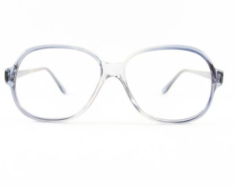 80s Vintage Glasses | Clear Grey Blue Eyeglass Frame | NOS 1980s Round Eyeglasses - Toronto