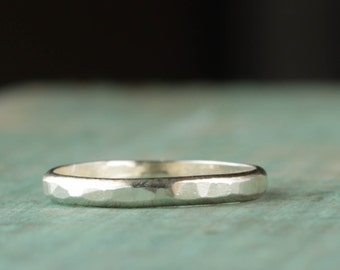 Hammered Wedding Band, Sterling Silver Ring, Wedding Jewelry
