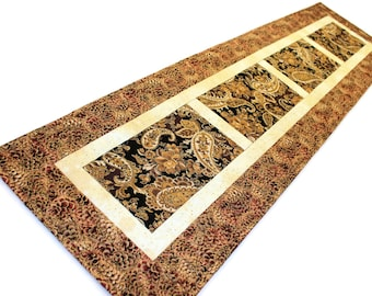 """Paisley Quilted Table Runner, Black and Brown Shimmering Table Runner Quilt, 50 x 13 1/2"""", Quiltsy Handmade Patchwork Quilt"""