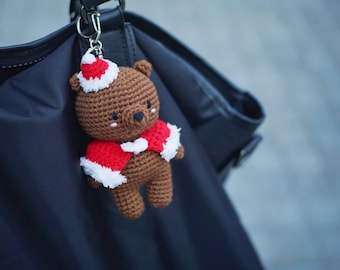 Christmas teddy bear amigurumi doll, keychain, keyring, brown bear
