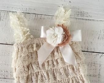 Lace Petti Romper, Champagne Cream Ivory Light Brown, matching flower headband rhinestone pearl, newborn infant toddler baby girl Fall set