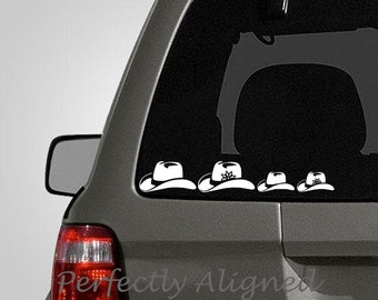 Cowboy Hat Family Car Decal - country family - country decal - stick figure family - etc...