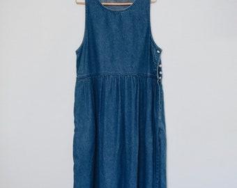 Vintage Denim Pinafore / Overall Denim Dress
