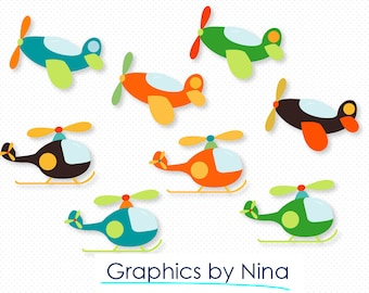 INSTANT DOWNLOAD  Airplanes and Helicopters  Clipart  Scrapbook for Personal and Commercial use