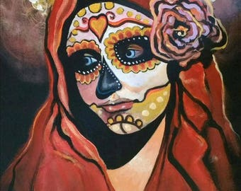 LE Day Of The Dead Mask A3 PRINT from Original Painting Folk Death Mexican Art - Limited Edition 20 By Artist Generoso Napoliello