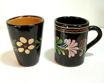 Folk Art Pottery Mug and Tumbler