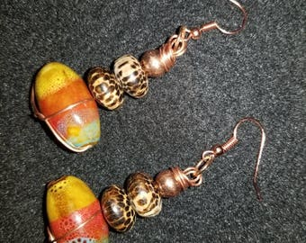 Colorful Glass Bead with Wood and Copper Beads Dangle Drop Earrings