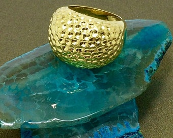 HAMMERED Dome Ring in Vermeil