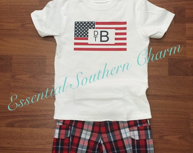 Personalized Independence Day Flag Tee for boys
