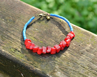 Blue and Red Bracelet with Recycled Ghana Glass Beads and Recycled African Vinyl Record Beads handmade jewelry gift