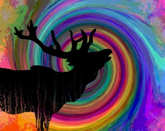Bugling Elk Art, Southwestern Rainbow Colors, Totem Animal Silhouette, Wall Hanging, Orange Blue Purple, Home Decor, Giclee Print, 8 x 8