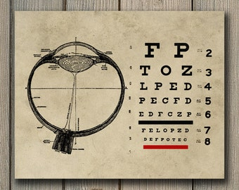 Vintage Ophthalmologist Eye Chart Print - Optometry Art - Eye Doctor INSTANT DOWNLOAD Wall Art - Optometrist Printable Poster