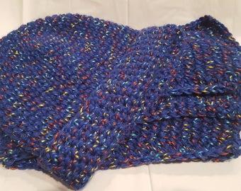 Blue Confetti Adult Crochet Hat & Scarf