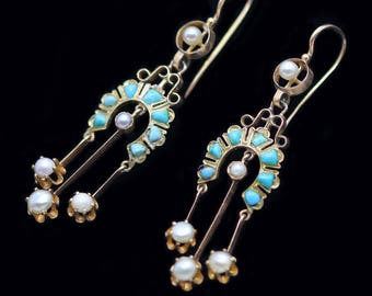Antique Victorian Long Pendant Earrings 18k Gold Pearls Turquoise (#6202)