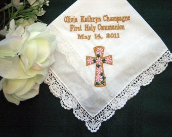 Personalized First Communion Gift.130B First Communion Favor Hankerchief,handkerchief,hankie,hanky, embroidered,personalized,custom
