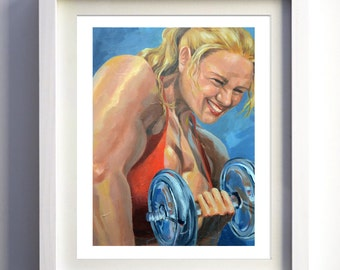 Strongirl, acrylic painting for gym, crossfit, bodybuilding, 30x40, signed original on stretched canvas