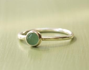 Sterling Silver Green Aventurine Stacking Ring
