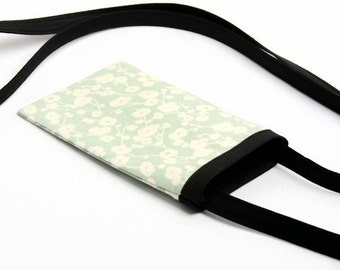Fabric Cell Phone Pouch, Cell Phone Carrier, Smart Phone Cross Body Bag, Women's Accessories, Mini Cross Body Bag, Mint with Cream Flowers