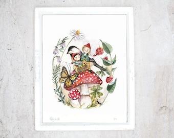 Print Gnomes | Illustration Art Giclee Print | Poster | Fall Autumn Butterfly Mushrooms | Pixie Elf Fairies Leprechaun Vintage Illustration