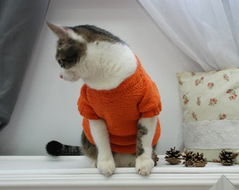 Orange Sweater for Cat, Wool top for pet, Clothes for cats, Cat clothes, Hand knitted sweater, Handmade pullover for pets, Warm sweater