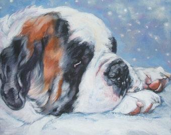 st Saint Bernard dog art CANVAS print of LA Shepard painting 8x10