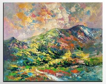 Oil Painting Landscape, Canvas Art Painting, Original Painting, Large Wall Art, Abstract Painting, Mountain Painting, Palette Knife Art