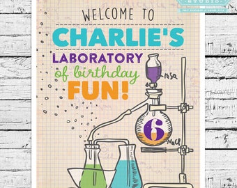 Science Birthday Party Personalized 8x10 Sign