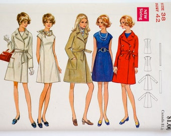 Vintage 1960s Womens Size 38 Mod One Piece Dress and A-line Wrap Coat Butterick 5599 Sewing Pattern FACTORY Folds, b42 w34