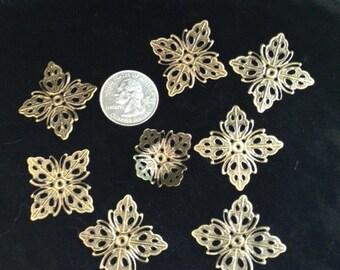 EIGHT FANCY FLOWERS Iron Metal filigree Flower beads bead  torch fire torch firing