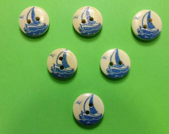 SET of 6 wood buttons: theme Starfish motif sailboat (04) 15mm round